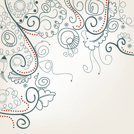 Abstract floral background with snails Vector