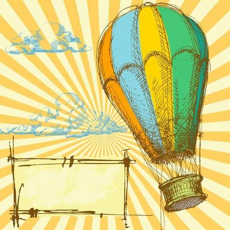 inflar: Fondo retro con globo de aire caliente para diferentes eventos  Vectores