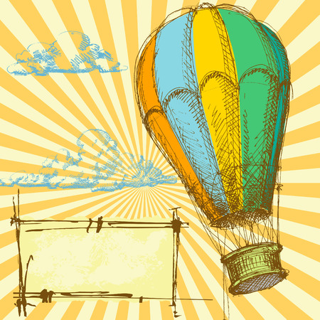 aeronautical: Retro background with hot air balloon for different events