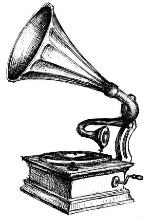 vinyl disk player: Gramophone sketch