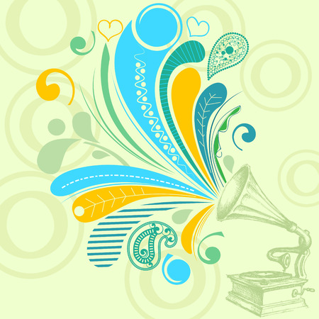 gramophone: Retro music concept; nostalgic tunes