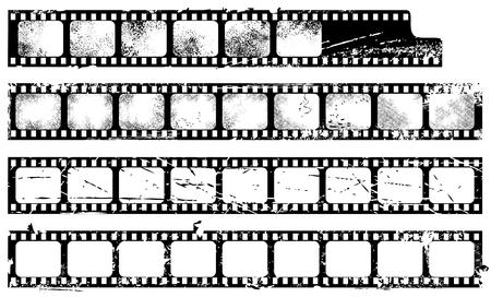 Conjunto de filmstrips de grunge Ilustración de vector