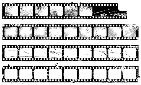 film negative: Grunge filmstrips set