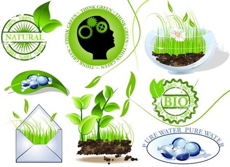 ahorrar agua: Mensaje de conjunto, ecol�gica y biol�gica de iconos de naturaleza Vectores