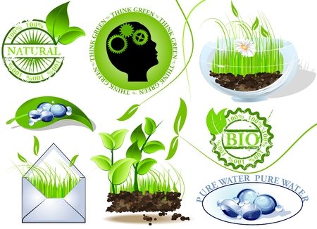 think green: Nature icons set, eco and bio message Illustration