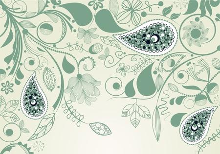 papel tapiz turquesa: marco floral con paisley