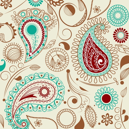 turquoise: Paisley pattern in retro style