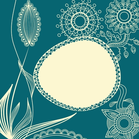 Floral background with frame for text Vector