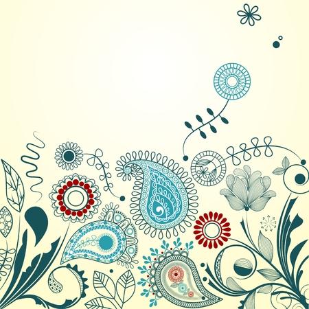 turquoise swirl: Oriental garden background Illustration