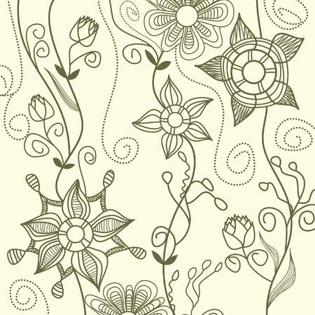 Floral background linework Vector