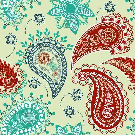 paisley pattern: Colorful motif transparente paisley  Illustration