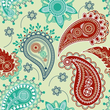 paisley design: Colorful paisley seamless pattern Illustration