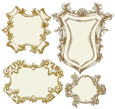 ornamental shield: Vintage frames Illustration