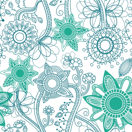 turquoise wallpaper: Floral seamless pattern
