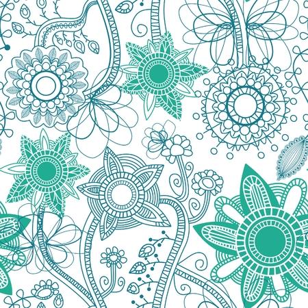 papel tapiz turquesa: Patr�n transparente floral