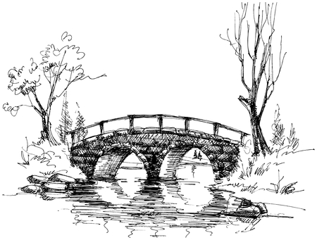 Stone puente sobre río esbozo  Ilustración de vector