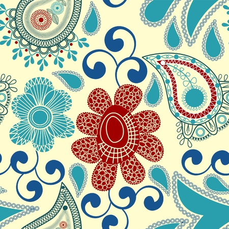funky: Paisley and flowers seamless pattern Illustration