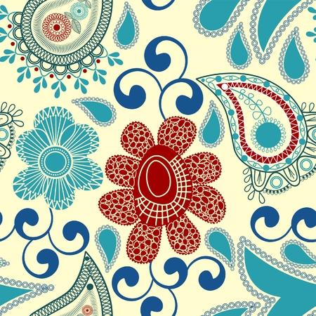 paisley pattern: Paisley and flowers seamless pattern Illustration