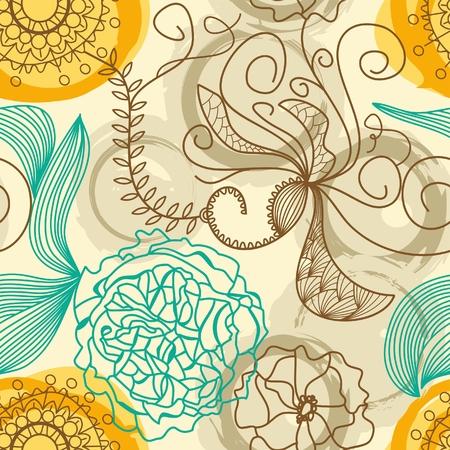 intricate: Retro floral background Illustration