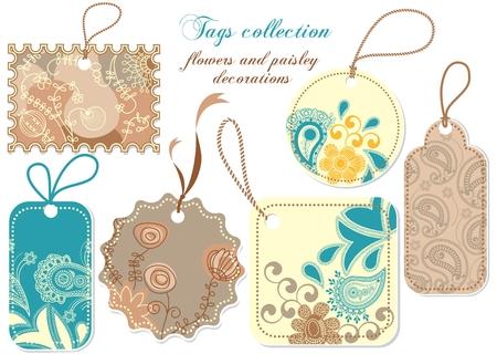 etiquetas de ropa: Colecci�n de etiquetas; decoraciones paisley y flores  Vectores