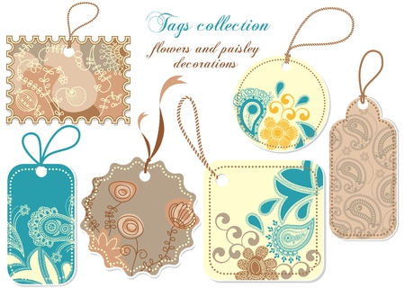 prices: Tags collection; paisley and flowers decorations