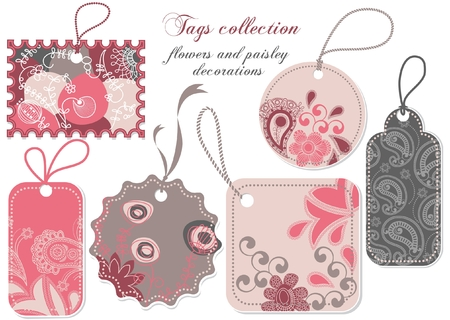 Price tags collection in pink and grey Vector