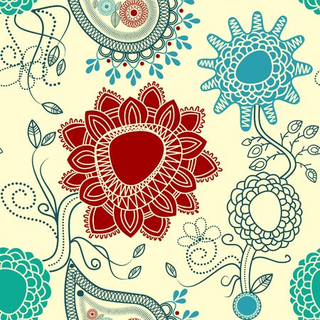 Floral seamless pattern with paisley Vector