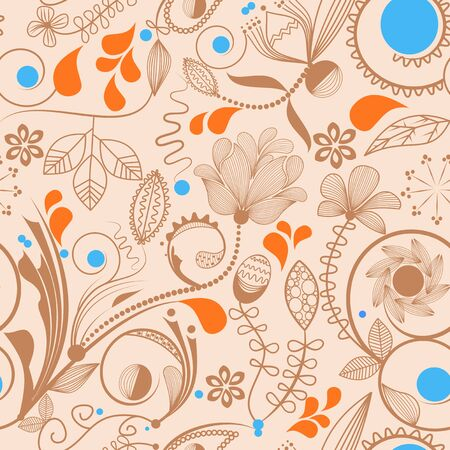 peachy: Floral seamless background in peachy tones  Illustration