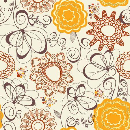 festive pattern: Retro floral seamless background Illustration