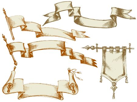 bunting flags: Vintage flags and scrolls - set 3 Illustration