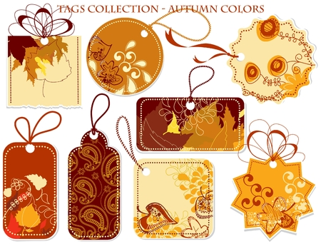 autumn fashion: Tags collection in autumn colors  Illustration