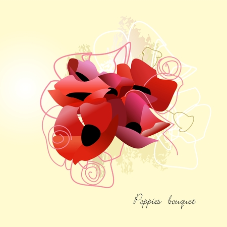 Poppies bouquet Vector