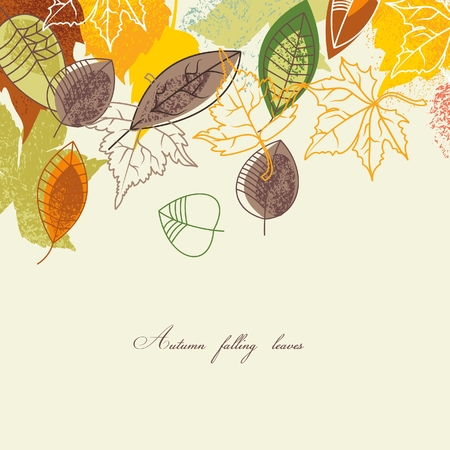 fall background: Autumn falling leaves background