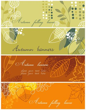 fall leaves border: Autumnal banners collection