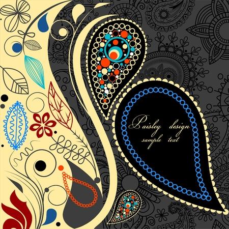 motif indiens: Arri�re-plan floral de Paisley