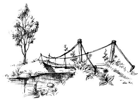 Paisaje con puente suspendido sobre el esbozo de río