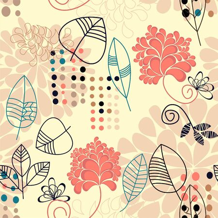 Floral seamless background with leaves  Vector