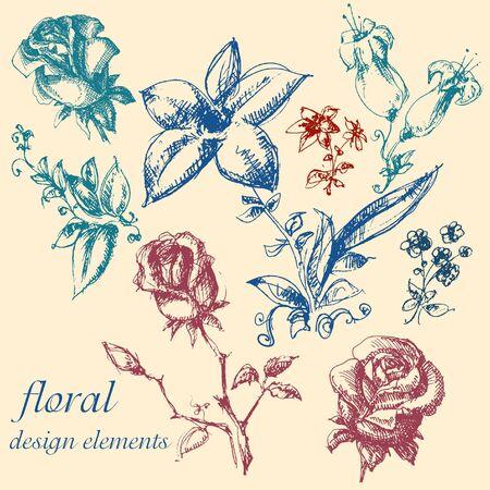 linework: Floral design elements collection