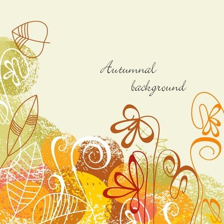 fall leaves border: Autumnal background Illustration