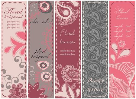 bookmarks: Vertical floral banners collection