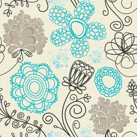 tileable: Floral seamless background in retro colors