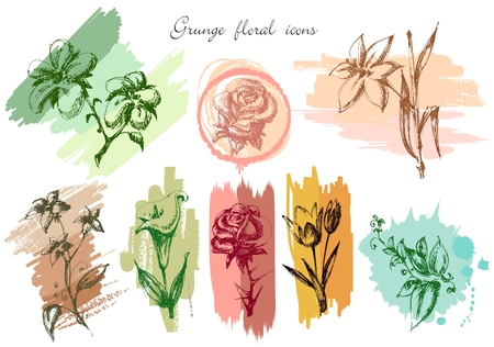 flores vintage: Grunge floral icons