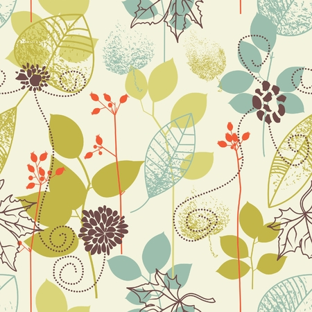 Seamless pattern on leaves theme  Vector