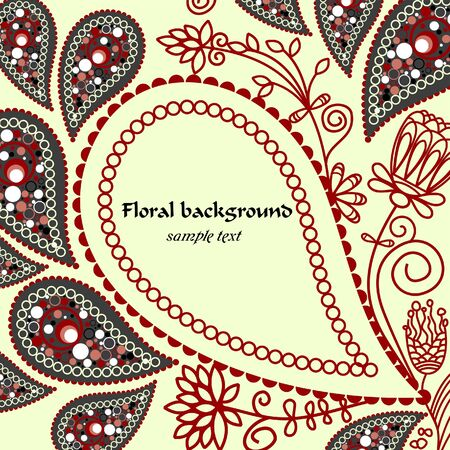 red indian: Paisley floral background