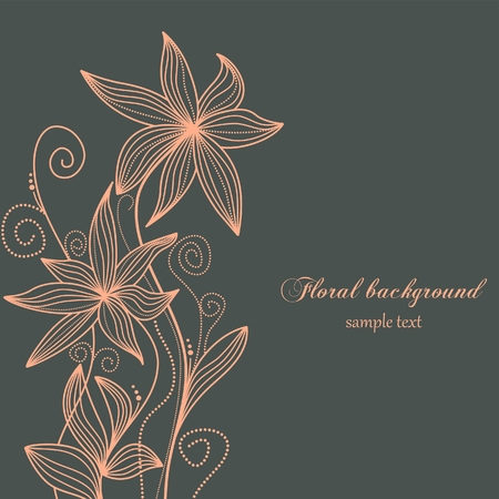 bunch of flowers: Hand drawn floral background