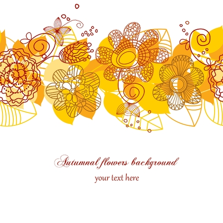 Autumnal flowers background Vector