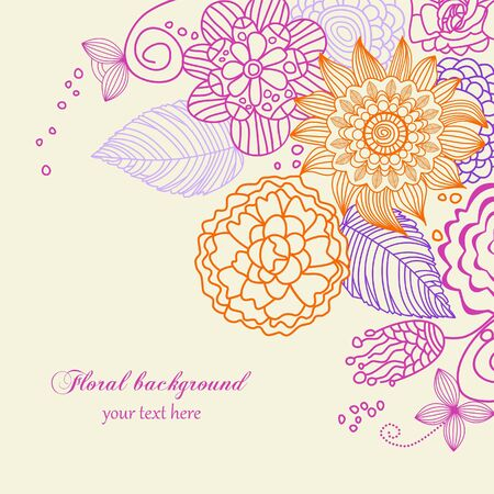 Cute floral background in vivid colors  Vector