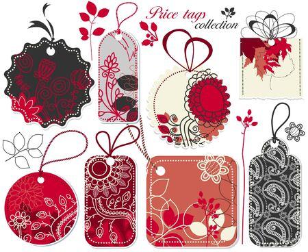 etiquetas de ropa: Colecci�n de etiquetas florales lindo  Vectores