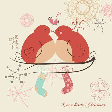 Love birds and Christmas gifts  Vector