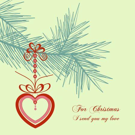 Retro Christmas card, love message  Vector